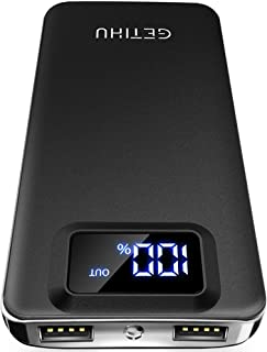 GETIHU モバイルバッテリー 超薄型 軽量 LED残量表示 10000mAh 大容量 2USBポート 【PSE認証済/超コンパクトサイズ】機内持ち込みが可能 地震/災害/旅行/出張/アウトドア活動などの必携品 iPhone/iPad/Xperia/Galaxy/Android各種他対応 スマホ充電器