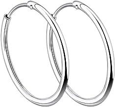YL Hoop Earrings 925 Sterling Silver Polished Circle Endless Earrings Hoops Diameter Jewelry 9,13,15,20,30,35,50mm