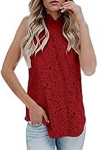 Bigyonger Womens Sleeveless Lace Tank Tops Crochet Halter Neck Sexy Cami Tunic Blouse