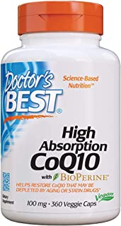 Doctor's Best High Absorption CoQ10 with BioPerine, Gluten Free, Naturally Fermented, Vegan, Heart Health & Energy Product...