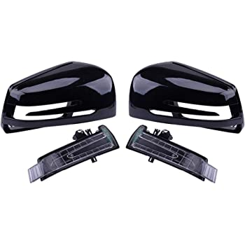 Zqasales Car Wing Mirror Rearview Black Case Cover Housing L R Car Side Mirror Case for Mercedes-Benz C-Class W176 W246 W204 W212 W221 CLS X156 C117