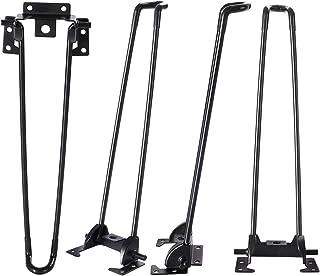 Haturi 折りたたみ脚 テーブル脚 折り畳み式4本セット DIY 座卓用 12in つや消し 傷・滑り防止 ブラック ネジが付けない