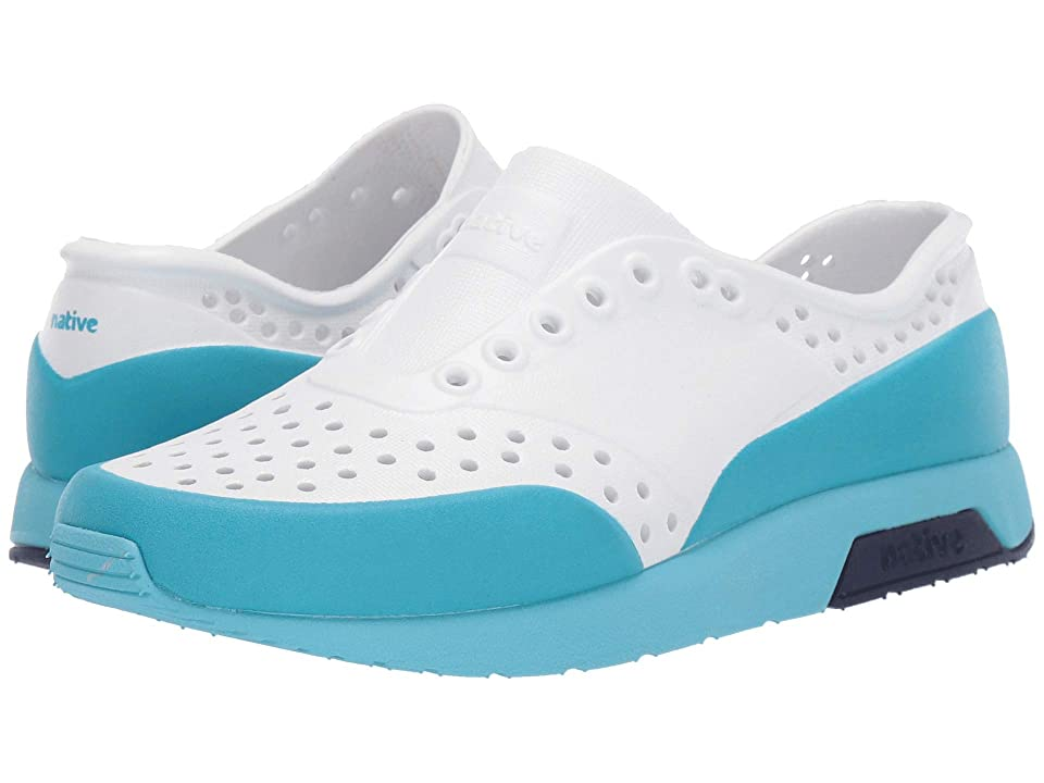 Native Kids Shoes Lennox Block (Little Kid) (Shell White/Hamachi Blue/Regatta Blue/Ultra Blue Glow Block) Kids Shoes
