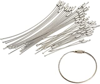 VV's AU 50pcs Stainless Steel Wire Cable Loop Screw Lock EDC Keychain Tag Rope Ring Key Circle Camp Hanging Tool Gadget