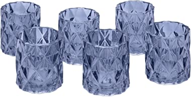 """Koyal Wholesale 3"""" Tall Navy Blue Modern Multifaceted Glass Candle Holders, Set of 6 Votives, Bulk Tealight Holders, Tablesca"""