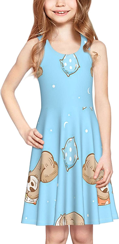YhrYUGFgf Lazy Cute Sloths Dress Girl's Fashion Printing Casual Skirt Tank Dress