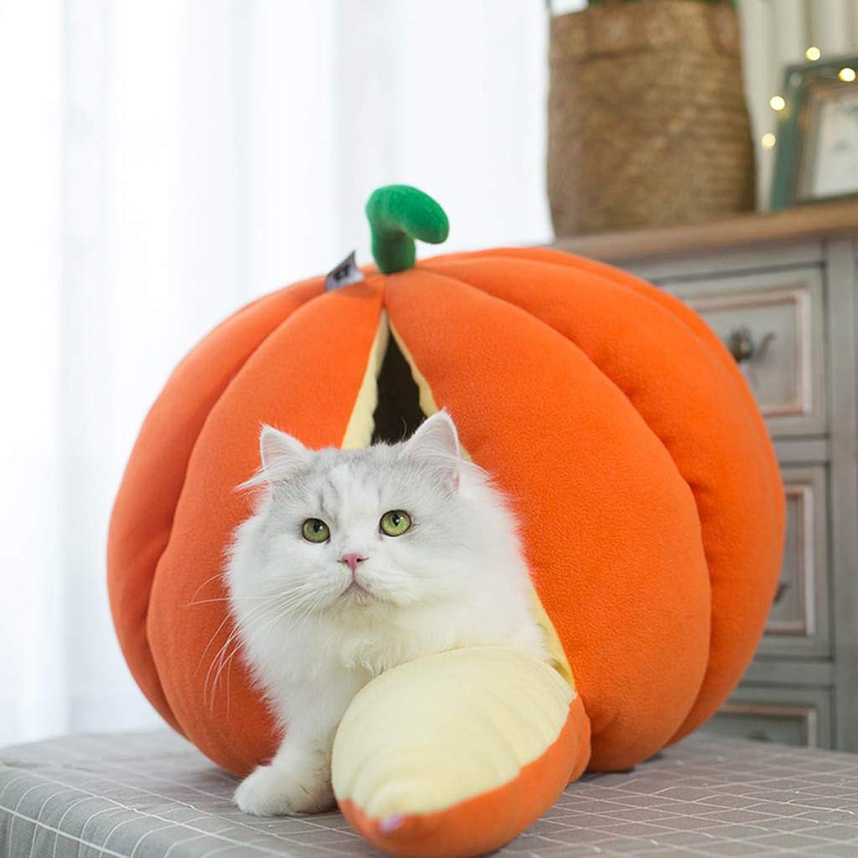 MeiHao Warm Cat Nest, Indoor Cat Bed SemiClosed Cat House Cute Fruit Pet Nest Warm Cat Sleeping Bag Zone,orange,M