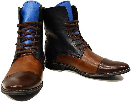 Modello Sciabole - Cuero Italiano Hecho A Mano Hombre Piel Color Vistoso botas Altas - Cuero Cuero Suave - Encaje