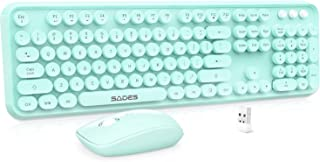 Wireless Keyboard and Mouse Combo, Teal Wireless Keyboard and Mouse Set, SADES 2.4GHz Full Size Round Key Cute Keyboard wi...