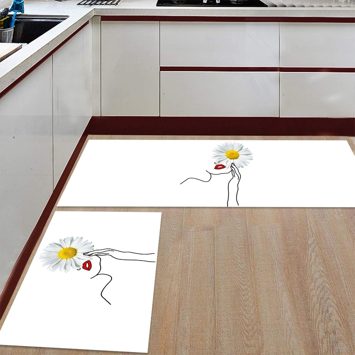 Advancey 2 Pieces Anti-Slip Kitchen White Department store Bargain Mats Daisy and Flowers