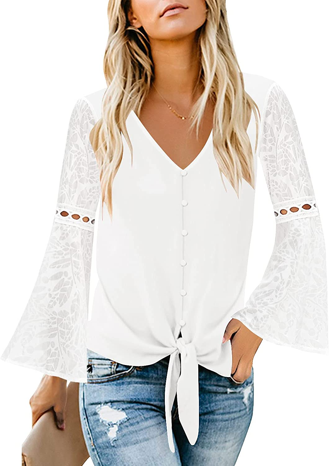 luvamia Women's Casual V Neck Blouse Lace Crochet Bell Long Sleeve Loose Shirt Tops