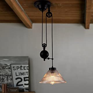 Vintage Pulley Chandeliers, Industrial Retractable Pendant lights Antique Pulley Rise and Fall Light Fitting for Kitchen Island Dining Room Loft Hallway with Glass Shade (Size : 1-Light)