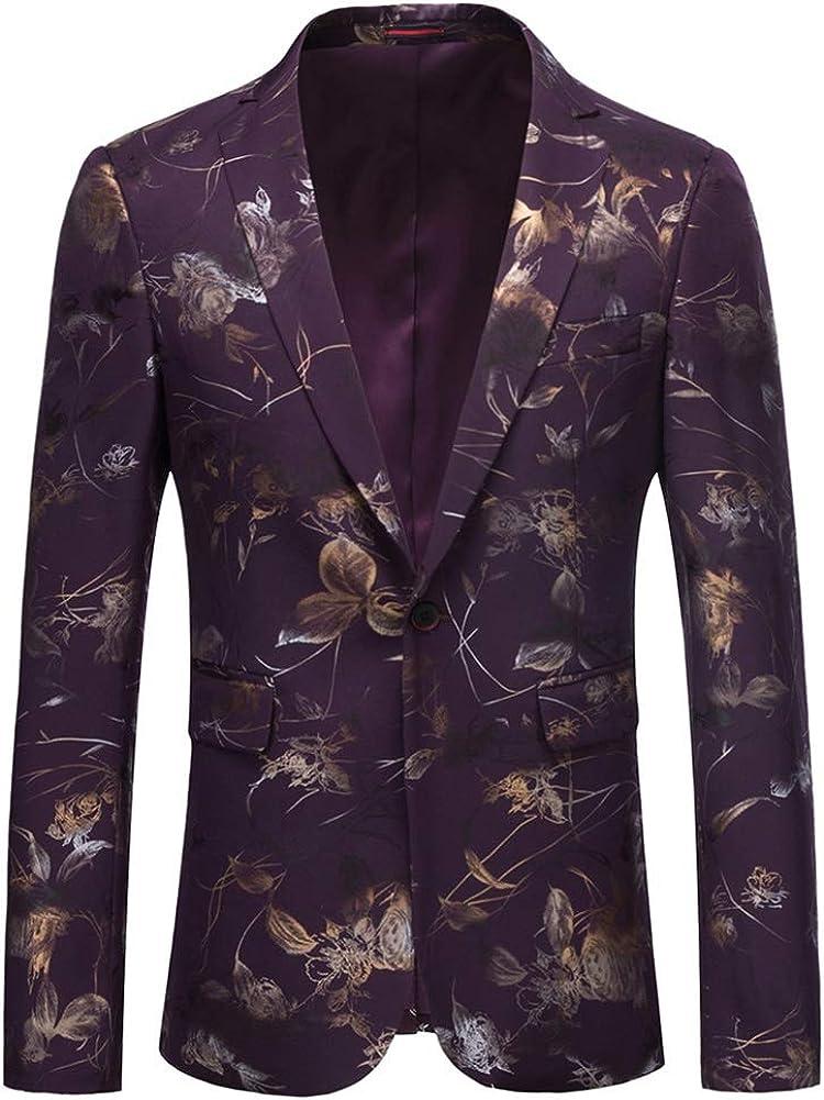 YOUTHUP Chaqueta Floral para Hombre Chaqueta de Traje Elegante Ajustada con Estampado Completo