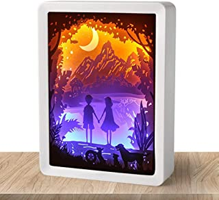 WOMHOPE Valentine's Day Gift Paper-Cut 3D Shadow Box LED Light Paper Sculptures - ABS Frame Light Night Table Lamps Decorative Mood Light Decorative Desktop Lamp (Hand in Hand (White))