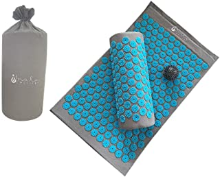 Acupressure Mat and Pillow Set for Neck and Back Pain + Spiky Reflexology Ball - Ebook and Wall Chart- Massage at Home for Sciatica, Fibromyalgia, Plantar Fasciitis and Relaxation Stress Relief, Blue