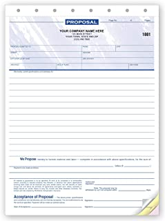 CheckSimple Contractor Job Proposal/Estimate Quote Forms - Customized, Blue, 8 1/2