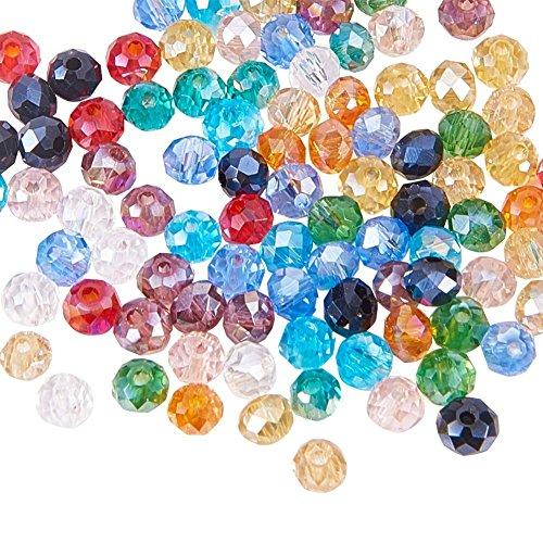 PandaHall Elite Circa 1200pcs/scatola Perline Vetro Perline Rotonde Placcate Colorate AB Sfaccettate per Braccialetti collane bigiotteria Gioielli Fai da Te, 3mm di Diametro, Colore Misto, Foro 1mm