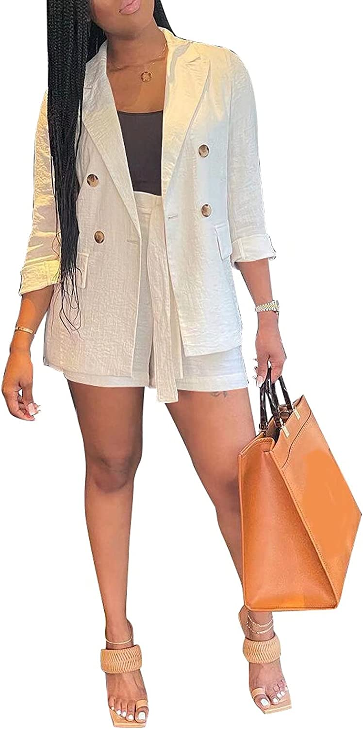Annystore Women's Casual 2 Piece Outfits Long Sleeve Blazers Belted Elastic Waist Shorts Set