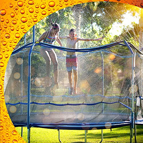 ThrillZoo Trampoline Waterpark Heavy Duty Trampoline Sprinkler Hose - Trampoline Accessories Fun Summer Outdoor Water Game Toys for Boys, Girls and Adults – Attach Tool Free on Safety Net Enclosure