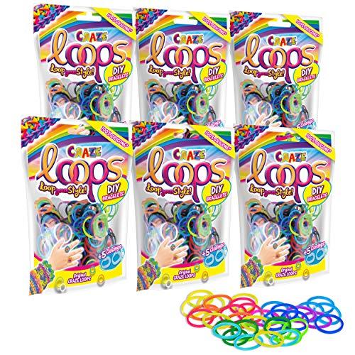 CRAZE Loops XL Set 6X 100er Foilbag Knüpfringe Silikonringe Armband Silikon Bänder Megaset 29503 29503-Juego de 6 Anillos de Silicona para muñequeras (100 Unidades), Varias Combinaciones de Colores