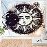 Brandless Tapiz de Luna y Sol Tapiz de Pared Retro Celestial Mystic Stars Tapiz Decoración para el hogar Toalla de Playa Tapete de Yoga Tapiz (95x73cm)