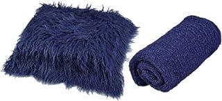 ZHANGLI 2PCS Newborn Baby Photography Props, Baby Photography Blanket & Wrap Set, Infant Soft Faux Fur Photography Backdro...