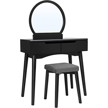 Amazon Com Vasagle Vanity Set Makeup Dressing Table With Round Mirror 2 Large Drawers With Sliding Rails Cushioned Stool Black Urdt11bk Home Kitchen