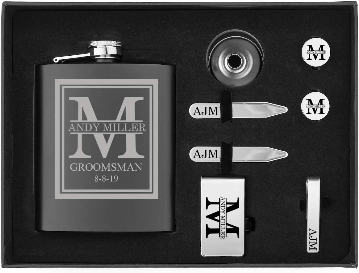 Custom Initial Deluxe Engraved 7oz Flask, Funnel, Money Clip, Tie Bar Clip, Round Cuff Links, Collar Stays Set Gift Box Set Personalized