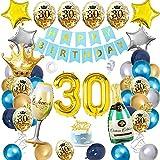 APERIL Decoration Anniversaire 30 ans Homme Femme Bleu Or Argent Ballon, Deco Anniversaire Ballon Party, Happy Bithday Bannière Avec Latex Or Confettis Ballons Champagne Bouteille Ballon