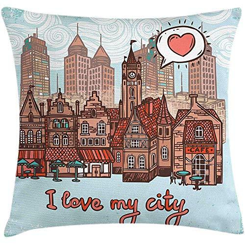 4 Pezzi 18X18 Pollici Fodera per Cuscino City Throw Pillow,I Love My City Hallmarks Watchtower Case in Legno Moderne E Antiche,Decorazioni per La Casa Fodere per Cuscino Quadrate