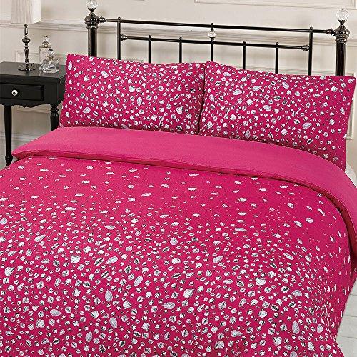 Dreamscene Gorgeous Glitz Diamond Sparkle Duvet Cover Bedding Set, Pink, Double, 200 x 200 cm
