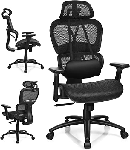 new arrival Giantex Ergonomic Office Chair, Mesh Computer wholesale Chair w/Adjustable 3D Armrest, Headrest, Lumbar Support Removable, lowest Gaming Chairs, Managerial Office Chair, Executive Swivel Chair (Black) outlet sale