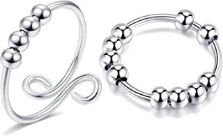 Anti Anxiety Ring with Beads Fidget Open Rings for Women Fight Anxiety Beads Rings for Men Fidget Rings for Anxiety for Women