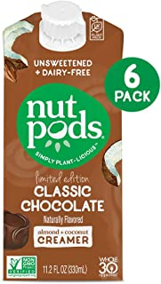 nutpods Classic Chocolate, Unsweetened Dairy-Free Liquid Coffee Creamer Made From Almonds and Coconuts (6-pack)