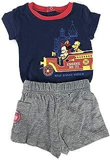 Disney Fire Engine No 71 Fireman Mickey and Pluto Bodysuit Shorts Set Baby Boys Newborn