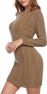 Akalnny Vestidos de Mujer Corto Ajustado de Punto Suéter de O-Cuello Vestido de Manga Larga Invierno Primavera Mini Vestidos