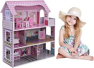 Auvem DIY Miniature Dollhouse Wooden Furniture Kit, 3D Puzzle Creative Handmade 3 Floor Mini Pink House Model with Miniature Furniture Kit for Children Gift (Pink)