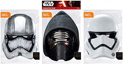 Star Wars Paper Masks Party Favors - 3 Assorted Styles (Captain Phasma, Kylo Ren, Stormtrooper)