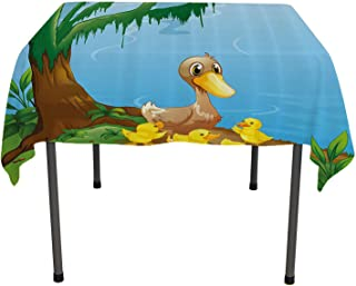 Kids, Waterproof Table CoverIllustration of Cute Duck and Her Ducklings at Riverbank Tree and Grass Cartoon Style, for Kitchen Dining Party, 60x60 Inch Multicolor