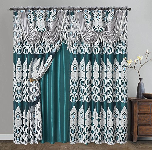Peacock Pride. Clipped Voile. Voile Jacquard Window Curtain Panel Drape with Attached Fancy Valance and Taffeta Backing. 2pcs Set. Each pc 54 inch Wide x 84 inch Drop + 18 inch Valance. (Teal Green)