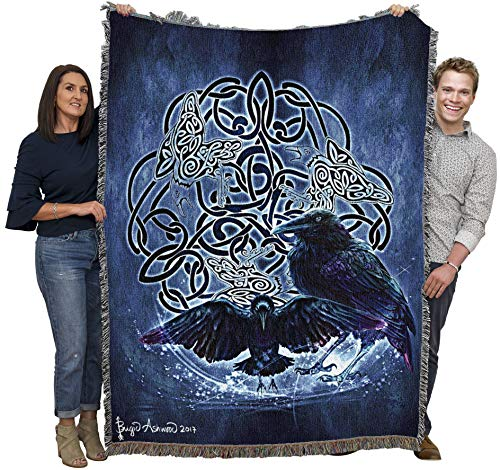 Celtic Raven by Brigid Ashwood Blanket Throw Woven from Cotton - Made in The USA (72x54)