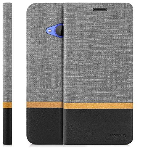 zanasta Tasche kompatibel mit HTC U11 Life Hülle Flip Hülle Schutzhülle Handytasche mit Kartenfach Grau