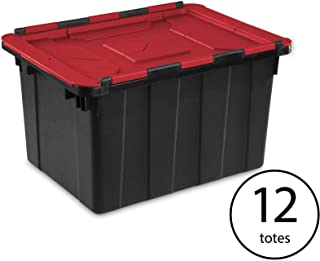 Sterilite 12 Gallon Hinged Lid Industrial Tote (12 Pack)