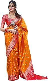 رداء هندي برتقالي للنساء تقليدي أنيق من الحرير بناراسي مع بلوزة بتصميم ساري 6072