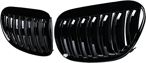 2pcs Glossy Black Front Hood Kidney Grille Grill Compatible with 04-10 E63 E64 6-Series 2DR Models