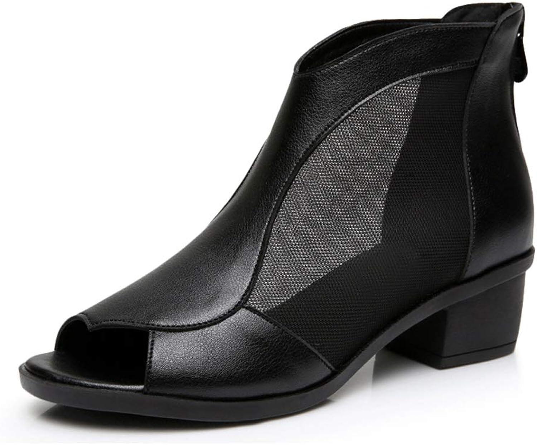 Einzelne Schuhe-Sommer-weibliche Sandalen dick mit Mesh-Sandalen der Fisch-Mund-Hohl-Frauen
