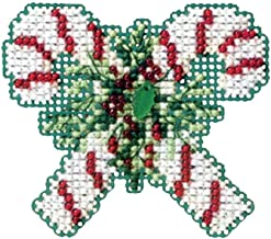 Candy Canes Beaded Counted Cross Stitch Christmas Ornament Kit Mill Hill 2011 Winter Holiday MH18-1302