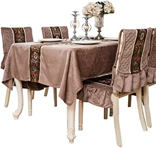 Durable Embroidered Table Cover Square Tablecloth Unique Wedding Decoration,coffeeTablecloth for Balcony Afternoon Tea, Cafe & Wedding Decor Non-slip (Color : Coffee, Size : 170110)
