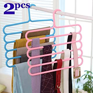 Ivanic® 5 Layer Pants Clothes Hanger Wardrobe Storage Organiser Rack Space Saving Multipurpose Hangers - Colours May Vary - Pack of 2