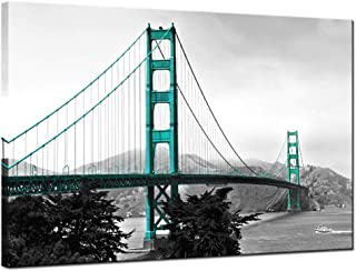 LevvArts - Modern Blue and Grey Canvas Wall Art San Francisco Golden Gate Bridge Picture Wall Art Contemporary Artwork for Living Room Bedroom Home Office Gallery Wrap Ready to Hang